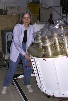 Martha Haynes with the Arecibo L-band Feed Array (ALFA) when it arrived at the Arecibo Observatory (Puerto Rico) in April 2004.