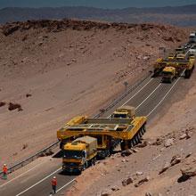 Tranporters cross the Coredillera del Sal
