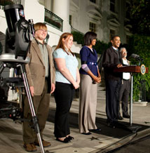 President Barack Obama and First Lady Michelle Obama host an astronomy event on the South Lawn of the White House, October 7, 2009. Participants include: Dr. John Holdren, Office of Science and Technology Policy; Caroline Moore, the youngest person to discover a supernova; and Lucas Bolyard, who recently discovered anomalous pulsar. (Official White House Photo by Chuck Kennedy)