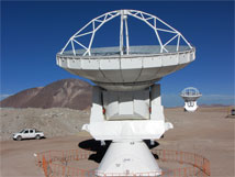 Figure 1. Two ALMA antennas have measured fringes at three frequency bands at the 5000m elevation ALMA Array Operations Site.