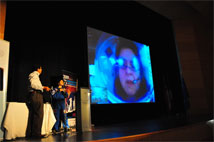 Figure 3: Carmen Gloria Jimenez connected the attendants to her talk via video-conference to the Mars Desert Research Station in the United States.