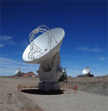 Figure 1: Three ALMA antennas await commissioning at the 5000m Array Operations Site in  northern Chile. Image courtesy ALMA (ESO/NAOJ/NRAO), W. Garnier (JAO)